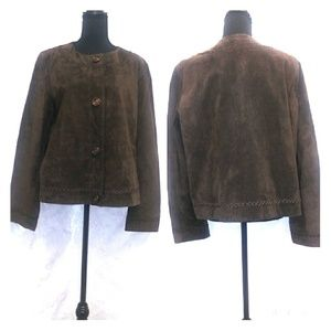 Plus Suede Liz Claiborne chocolate Jacket size 16